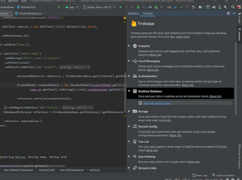 Firebase Realtime Database in Android Studio Assistant