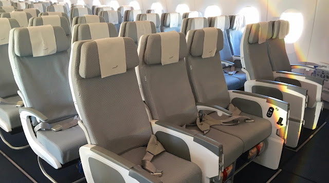 finnair airbus a350-900 economy class front side