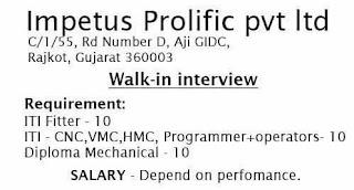 Walk-in interview ITI & Diploma Requirement in Impetus Prolific Pvt Ltd Rajkot, Gujarat