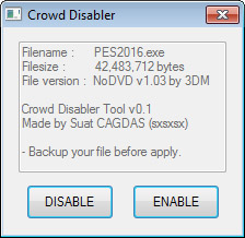 Crowd Disabler Tool / Pes2016 Pc / Released | Pes Free Downloads