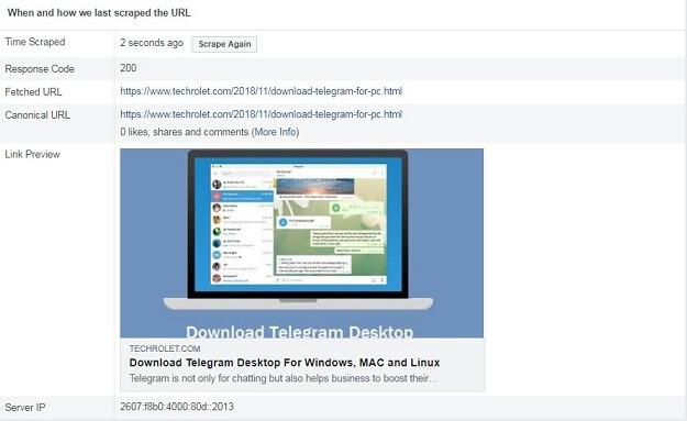 Facebook link thumbnail showing