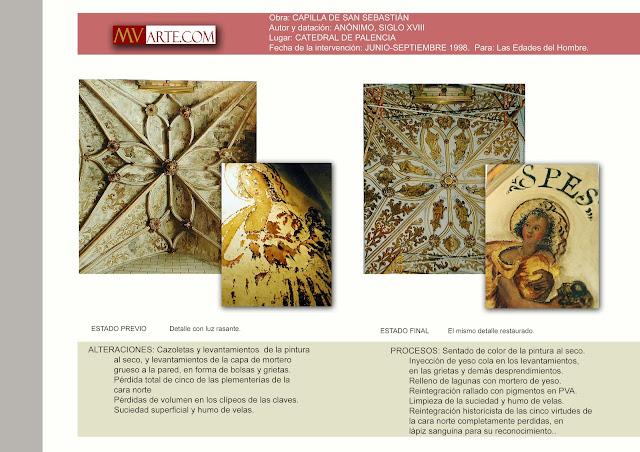 Trabajos de restauración y reintegración de las pinturas murales de la capilla de San Sebastián de la Catedral de Palencia