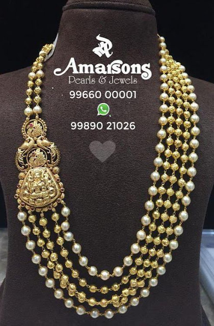 Pearls and Ruby Beads Set by Amarsons