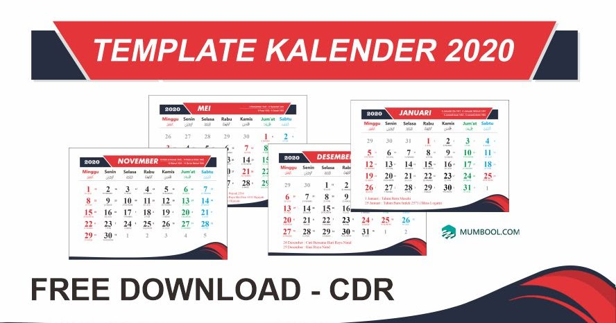 Kalender Indonesia 2020: Desain Kalender 2020 Cdr Gratis