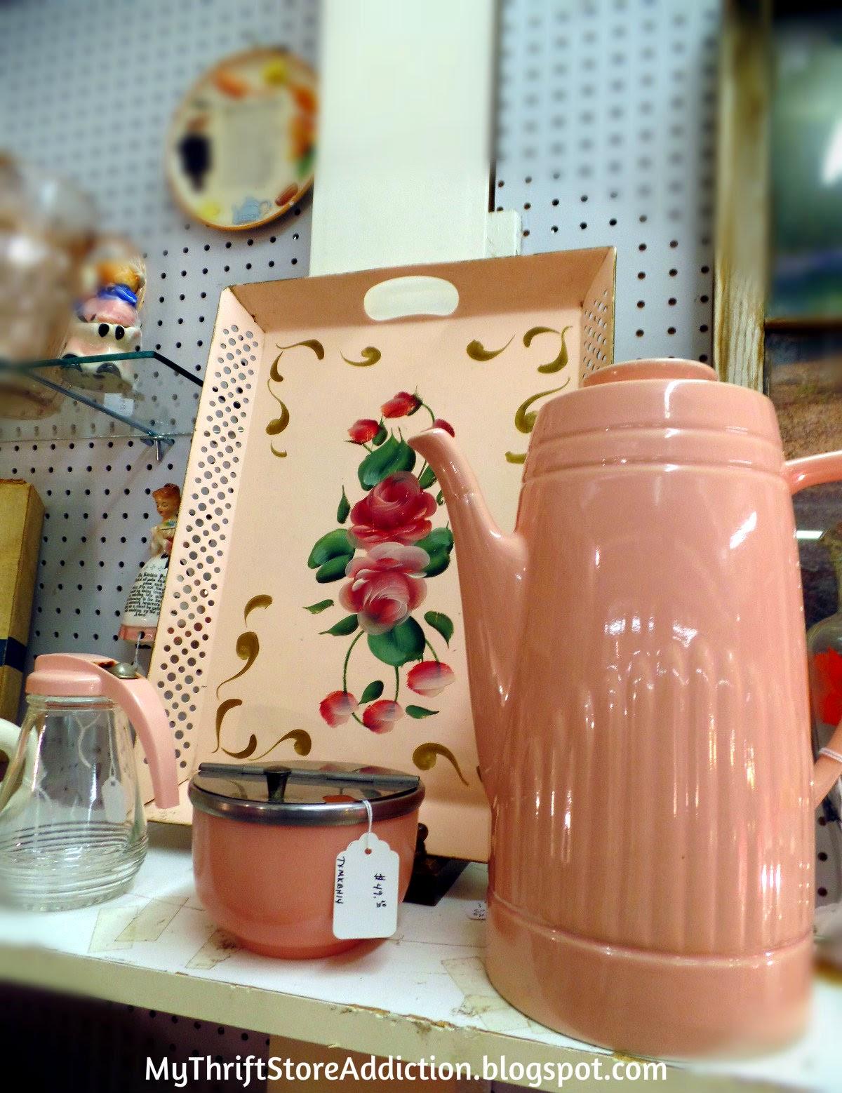 Vintage pink enamelware