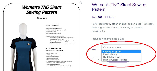 Tailors Gone Wild - sewing pattern options