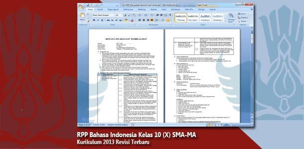RPP Bahasa Indonesia Kelas 10 (X) SMA-MA Kurikulum 2013 Revisi Terbaru Tahun 2019-2020