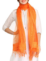 Orange embellished organza dupatta – INR 440