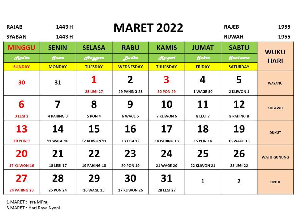 Kalender Bulan Maret 2022 dan Hari Peringatannya - Enkosa ...