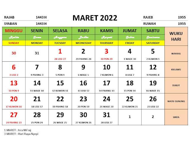 Kalender Bulan Maret 2022 dan Hari Peringatannya