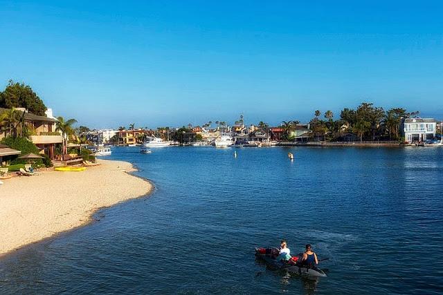 canoeing at Newport Beach California