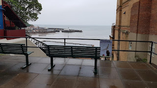 A bench next to the tramway overlooking the South Bay in Scarborough