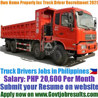 Own Home Property Inc Company Truck Driver Recruitment 2021-22