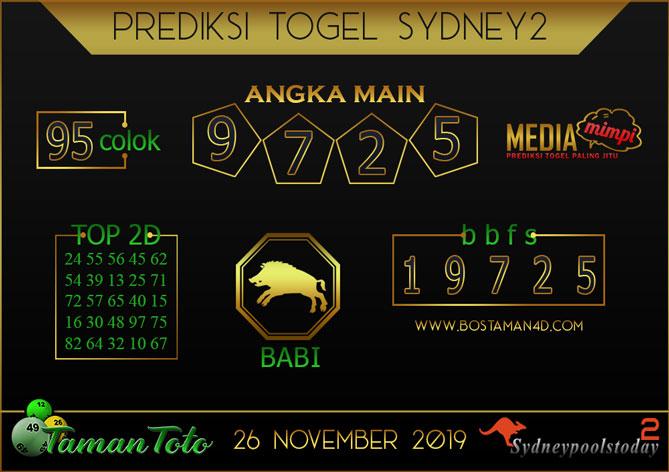 Prediksi Togel SYDNEY 2 TAMAN TOTO 26 NOVEMBER 2019