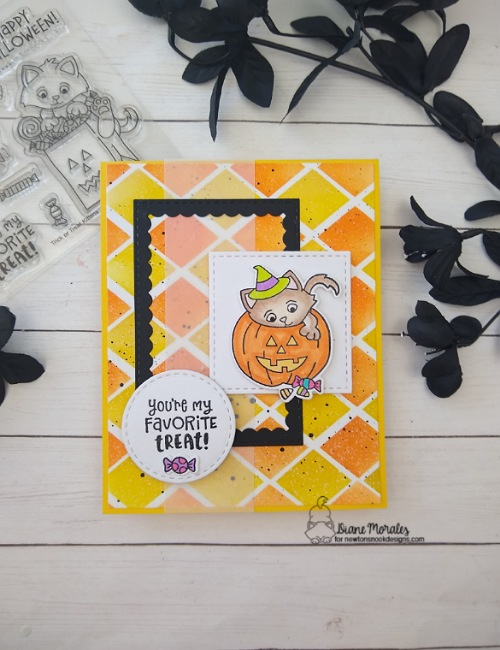 You're my favorite treat by Diane features Argyle, Frameworks, Circle Frames, Slimline Frames & Windows, and Trick or Treat Kittens by Newton's Nook Designs; #inkypaws, #newtonsnook, #catcards, #cardmaking, #halloweencards