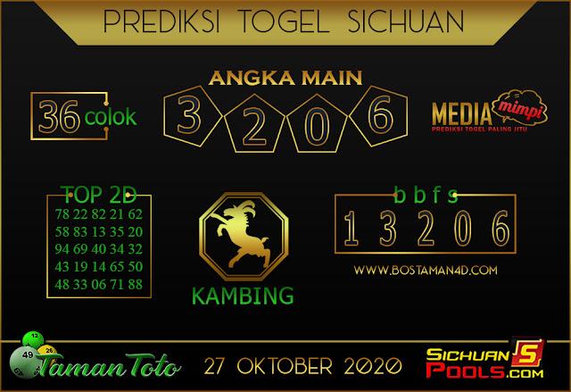 Prediksi Togel SICHUAN TAMAN TOTO 27 OKTOBER 2020