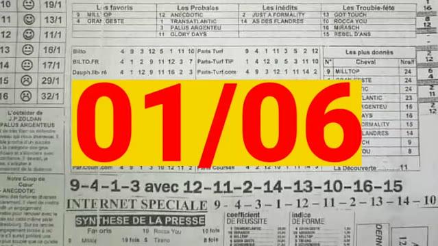 programme quinté Pronostic quinté+ Mardi 01/06/2021
