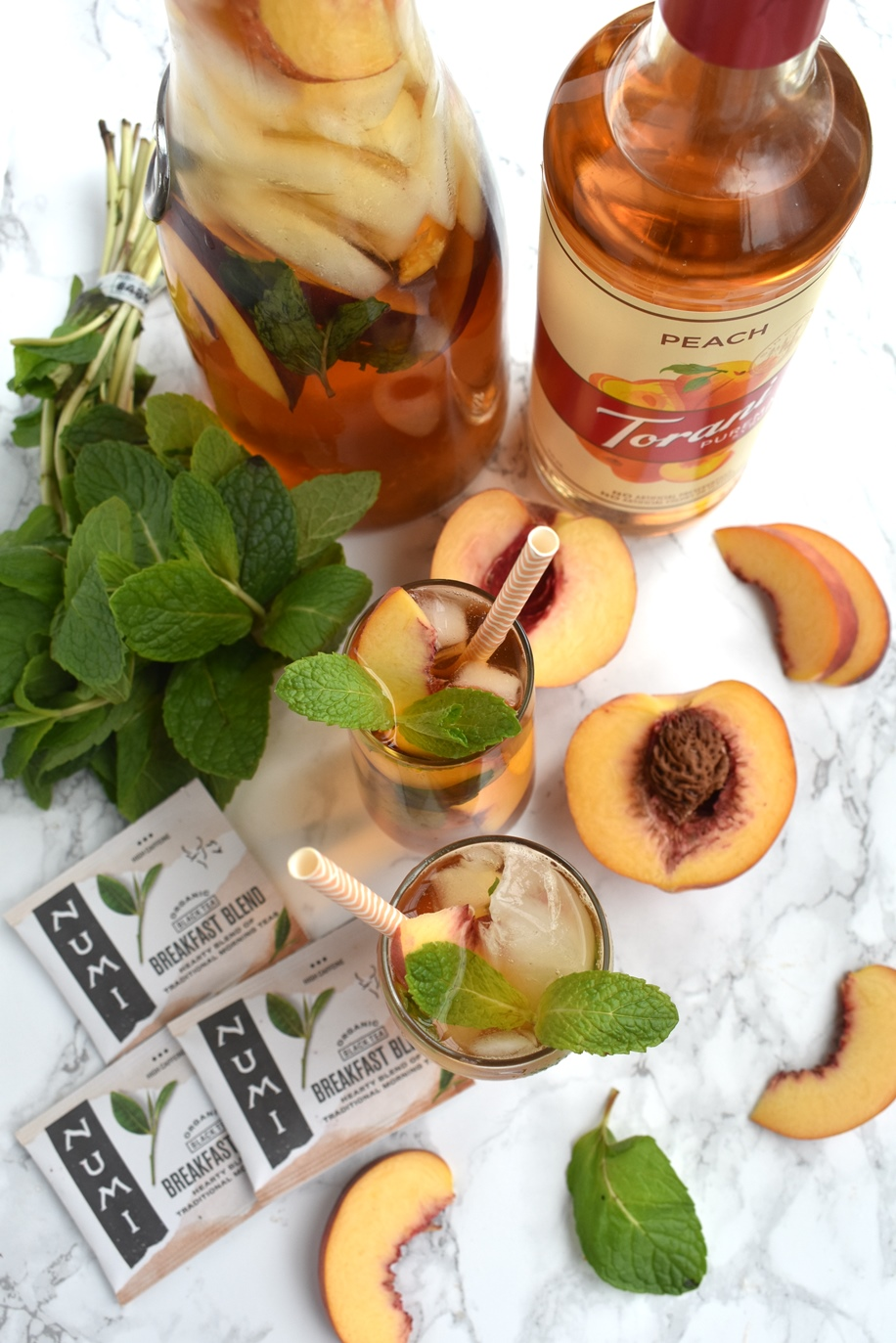Mint Peach Iced Tea