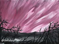 Crimson Northern Lights and Twigs acrylic 2020