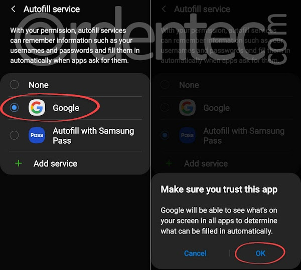 Activate Google Autofill Service, Turn Off Samsung Pass