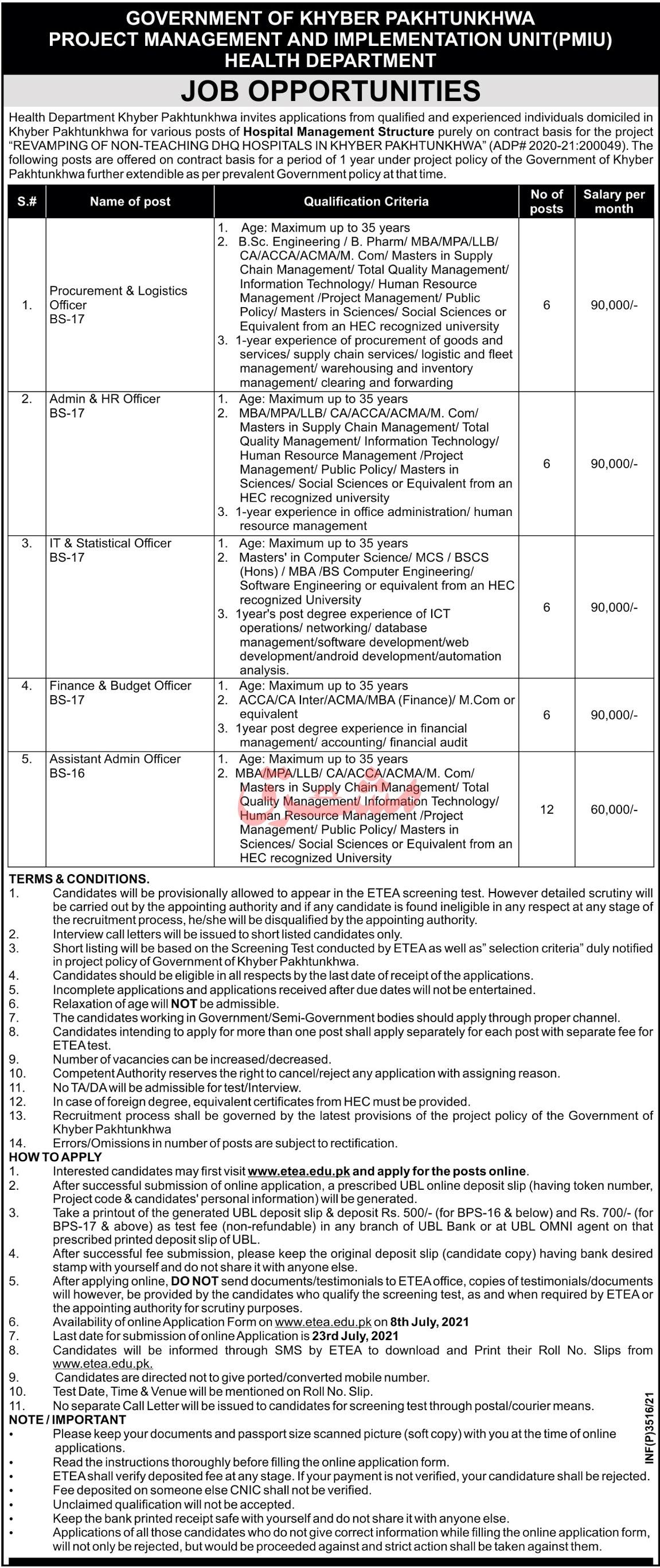 KPK Health Department Jobs 2021 in Pakistan - www.etea.edu.pk Jobs 2021