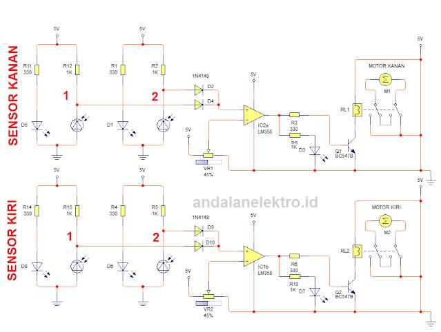 Skema robot line follower 4 sensor driver relay