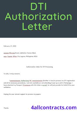 DTI authorization letter