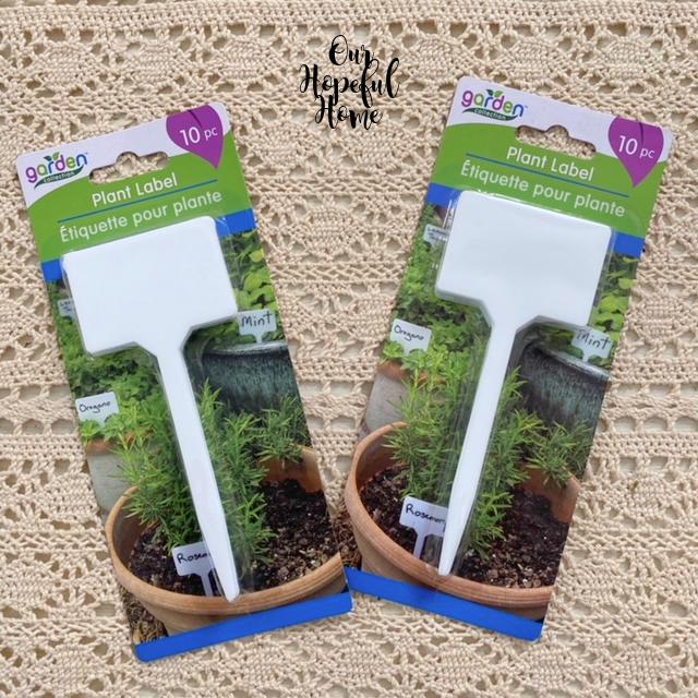 white plastic T plant markers