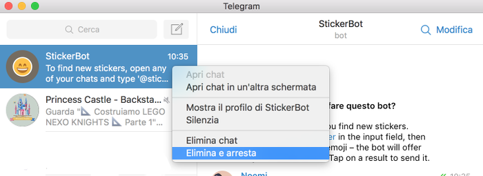 tutorial per disinstallare bot da Telegram