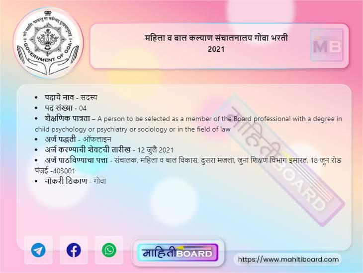 Mahila Bal Kalyan Goa Bharti 2021