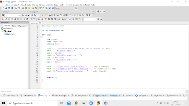 cara membuat program menginputkan angka kata karakter di c++