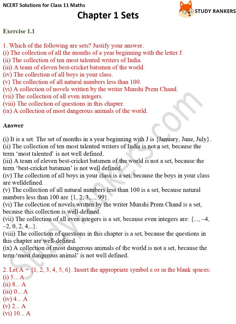 NCERT Solutions for Class 11 Maths Chapter 1 Sets 1