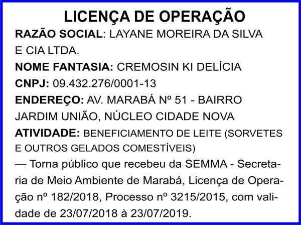 LICENÇA DE OPERAÇÃO - CREMISIN KI DELÍCIA - MARABÁ/PA