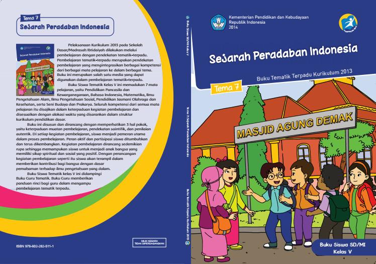 Download Buku Tematik Kurikulum 2013 SD/MI Kelas 5 Tema 7 Sejarah Peradaban Indonesia Edisi Revisi Format PDF