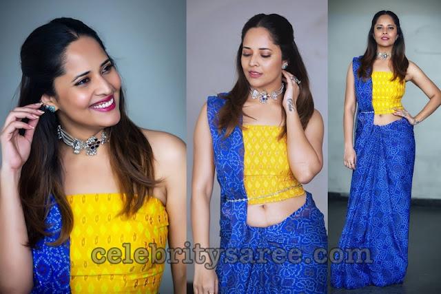 Anasuya Blue Printed saree