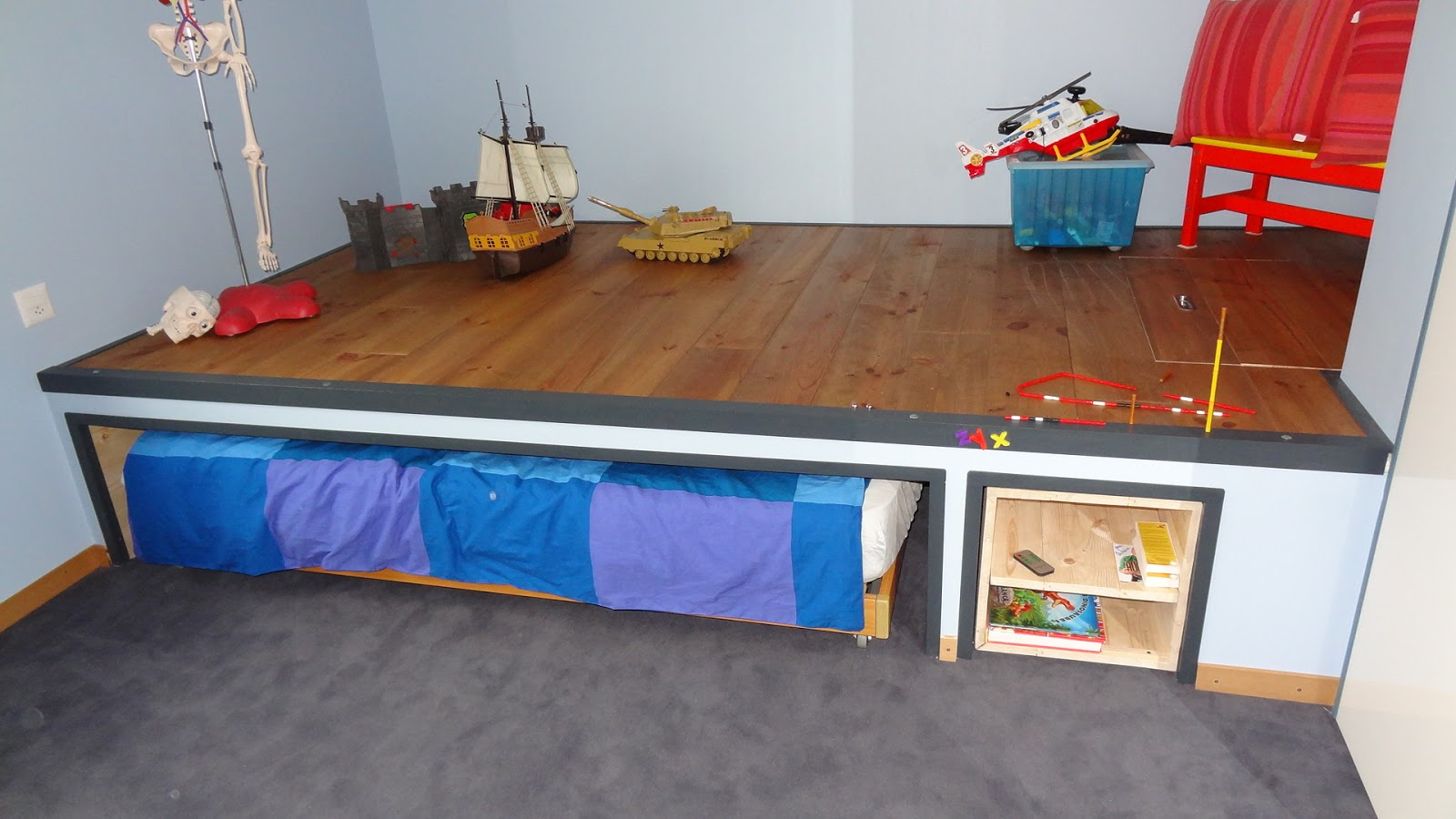 Fabrication Estrade En Bois lit estrade enfant | estrade avec espace de rangement pour