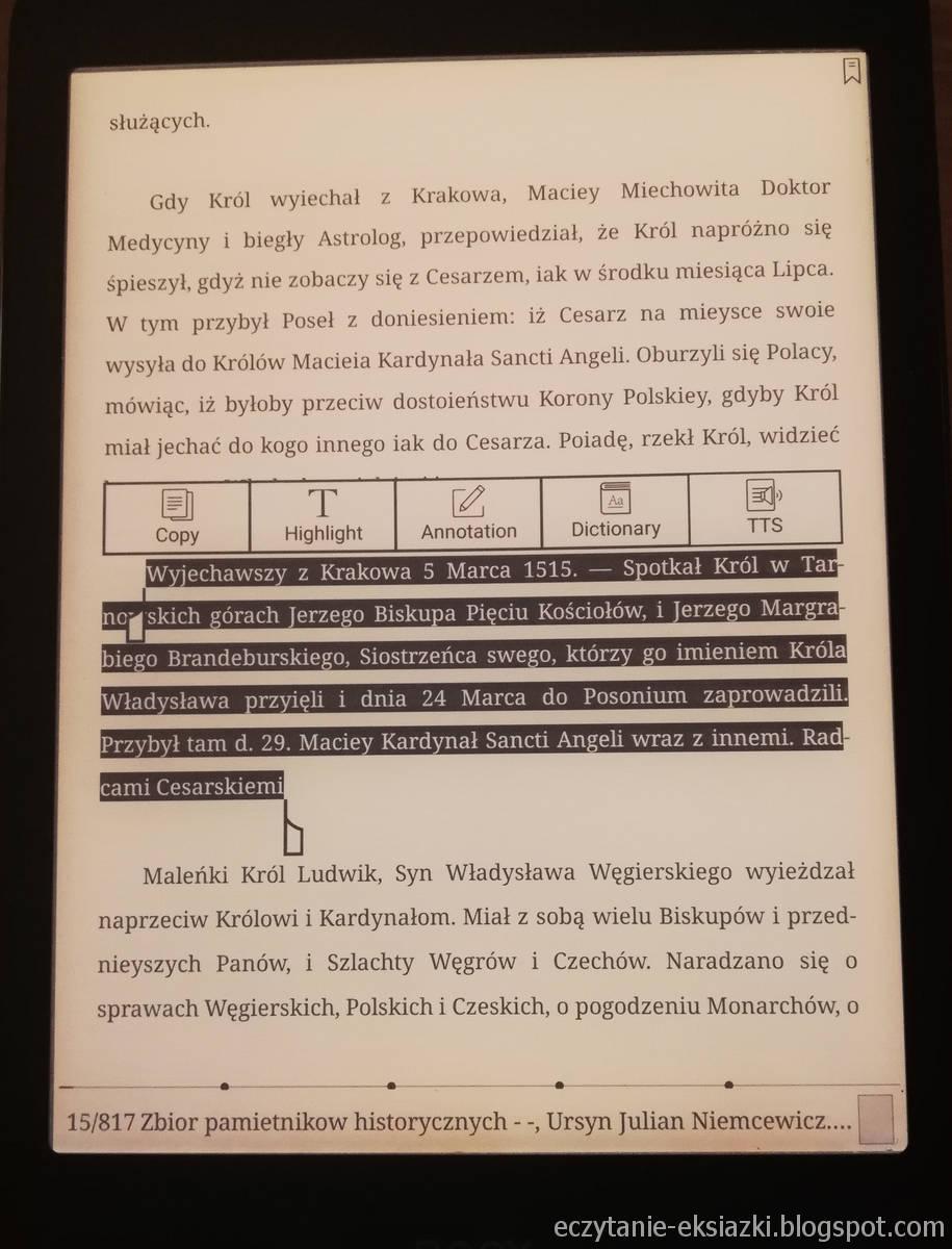 Zaznaczanie tekstu w aplikacji Neo Reader na czytniku Onyx Boox Nova