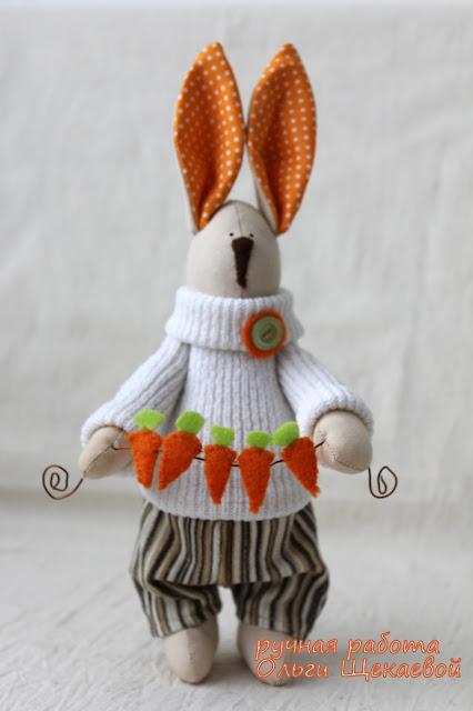 заяц, гирлянда из морковок