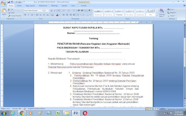 Contoh sk penetapan RKAM / RKAS