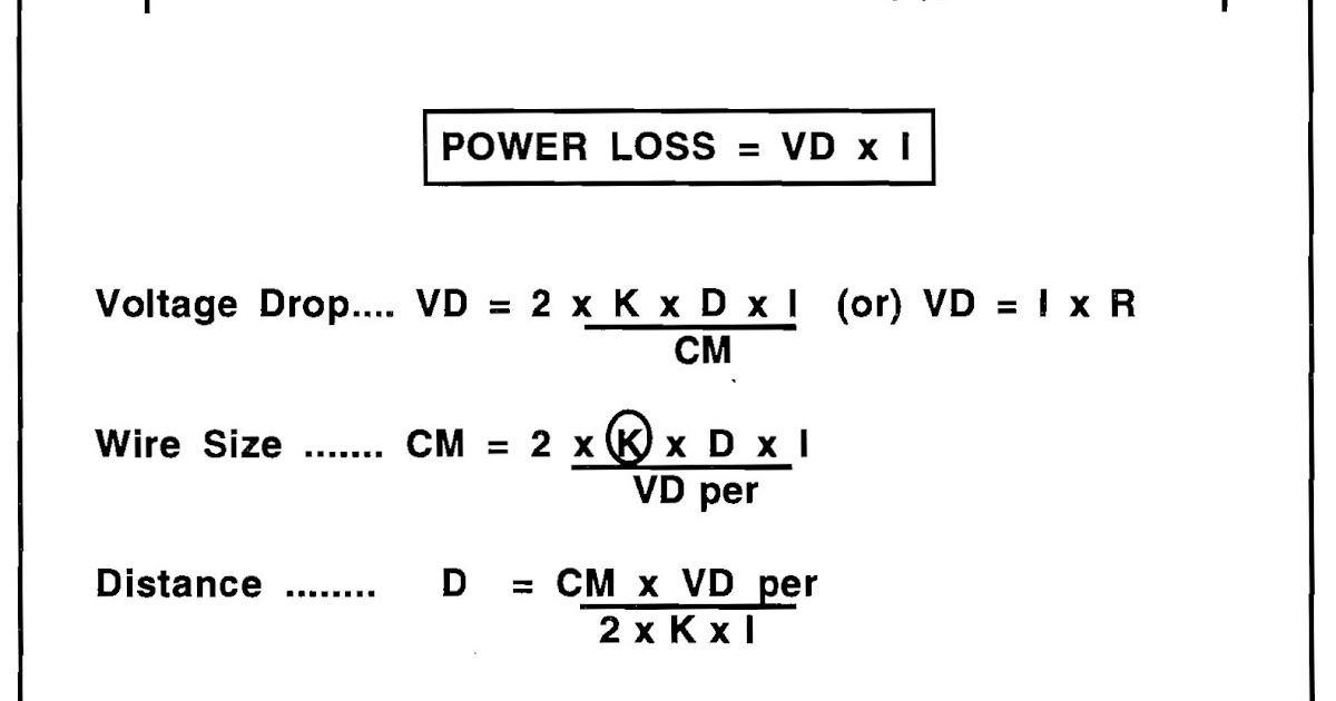 Electrical Knowledge Formula For Voltage Drop