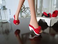 sandálias de crochê para Barbie