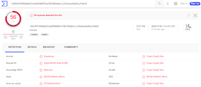 Tasa de detección de malware en VirusTotal.com de un binario generado con msfvenom.