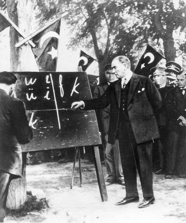 President Mustafa Kemal Atatürk introducing the new Turkish alphabet