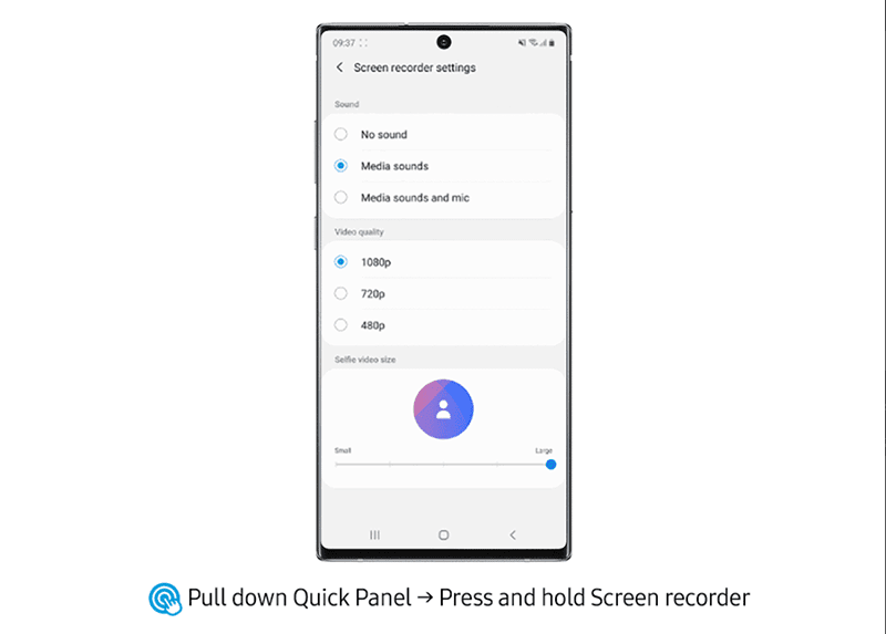 Here are the options for screen recording