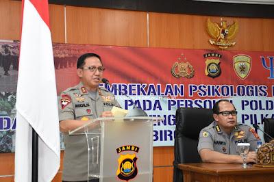 Pembekalan Psikologi Pra Ops Personil SSDM Polri Dibuka Oleh Kapolda Jambi