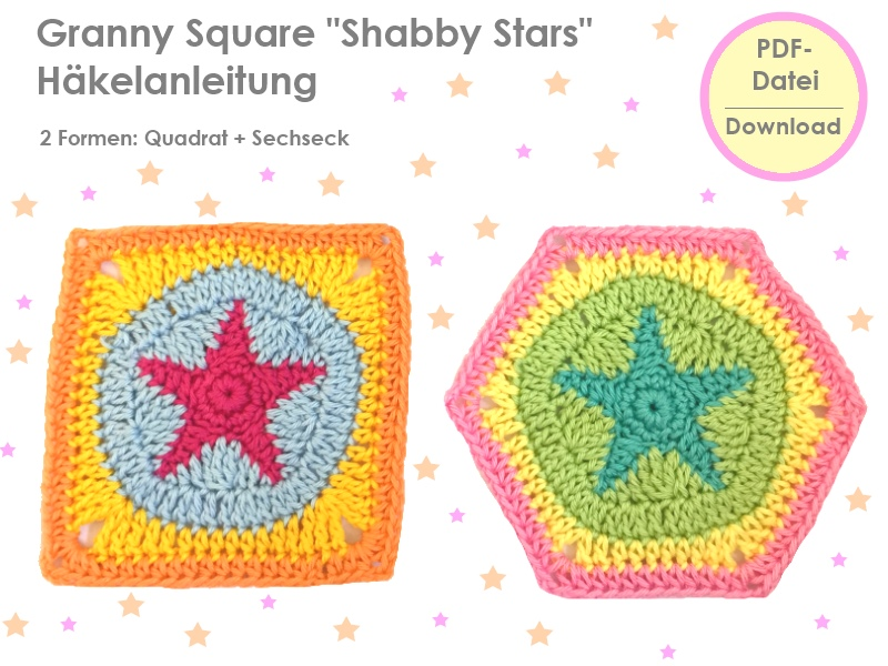 Ebook Shabby Stars Granny Square + Hexagon