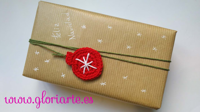 packaging navideño con ganchillo