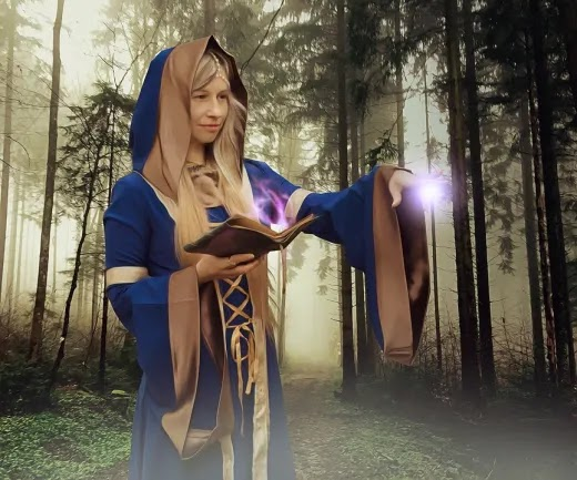 a sorceress conducting a ritual