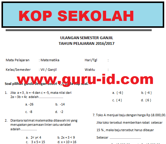 Soal Matematika Kelas 7 Semester 1 2 Dan Kunci Jawaban Kurikulum 2013 Tahun 2018 Info Pendidikan Terbaru