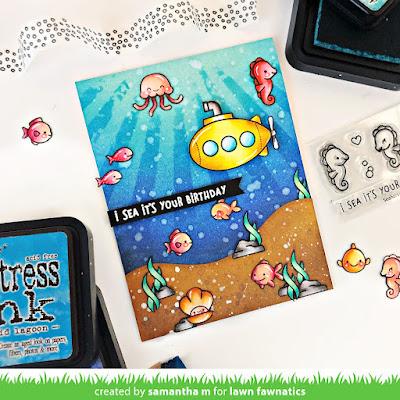 I Sea It's Your Birthday Card by Samantha Mann, Lawn Fawnatics Challenge, Lawn Fawn, Birthday Card, Cards, Distress Inks, Stencil, #lawnfawnatics #lawnfawn #distressinks #inkblending #birthdaycards